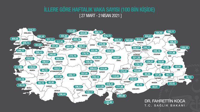 Yeni vaka haritası açıklandı: İzmir'de sert yükseliş!