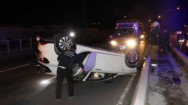 Bayraklı'da feci kaza… Refüje çarparak takla attı!